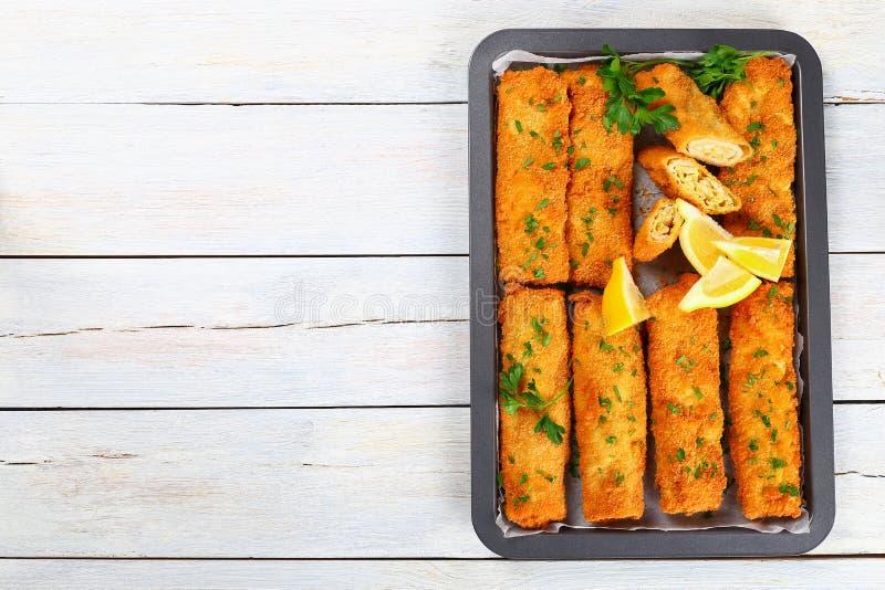 Pollo tritato al forno impanato croccante Chimichangas fotografia stock libera da diritti