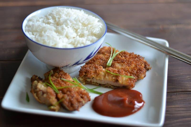 Pollo y arroz imagen de archivo libre de regalías