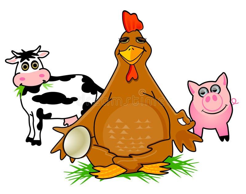 Pollo y cerdo de la vaca stock de ilustración