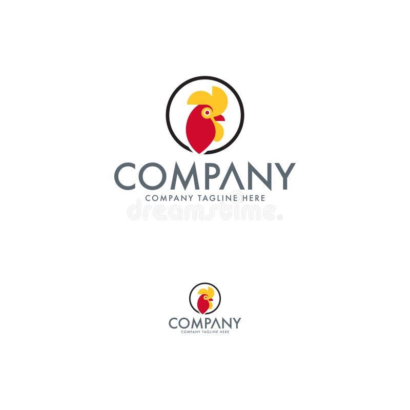 Pollo y gallo Logo Design Template stock de ilustración
