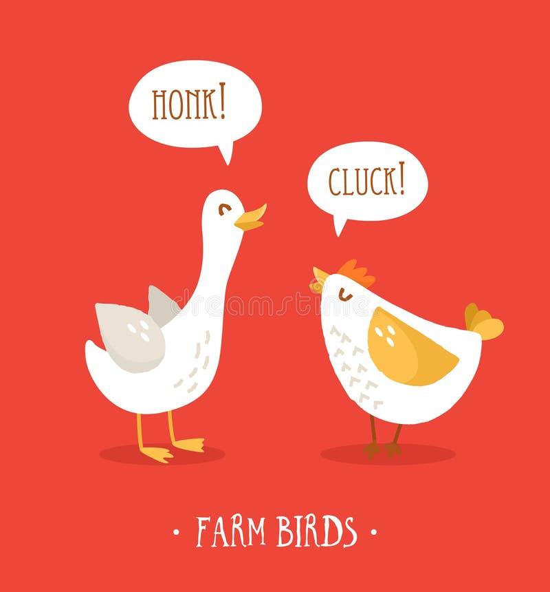 Pollo y ganso lindos de la historieta en fondo rojo Pájaros de la granja Diseño plano Vector ilustración del vector
