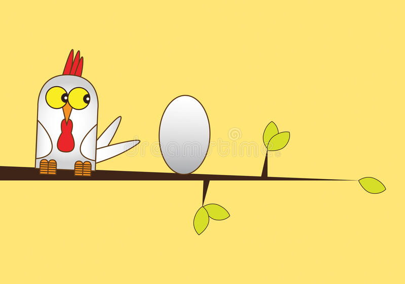 Pollo y huevo stock de ilustración