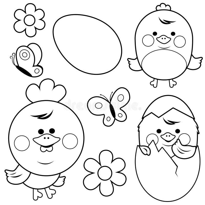 Pollo Y Huevos Lindos Página Blanco Y Negro Del Libro De Colorear ...