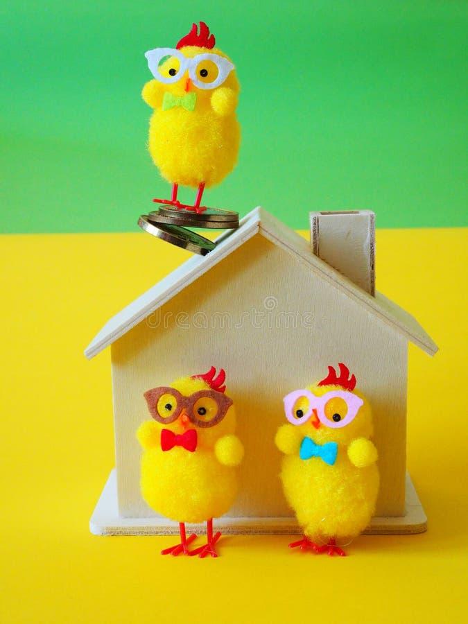 Pollos, casa de madera y monedas fotos de archivo