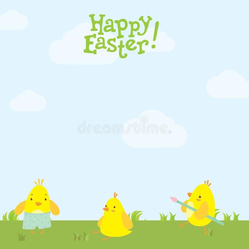 Pollos lindos de la postal de Pascua en la hierba fotos de archivo libres de regalías