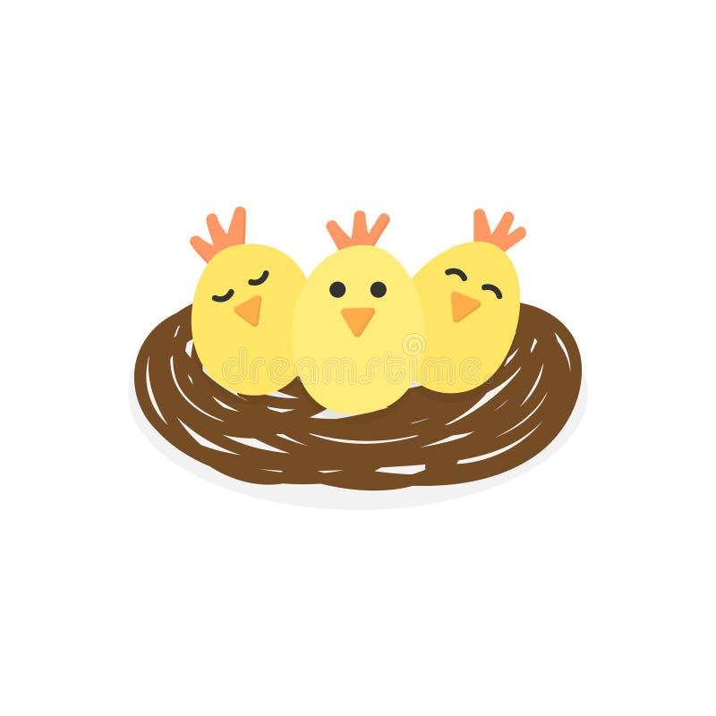 Pollos lindos en el ejemplo del vector de la jerarquía ilustración del vector