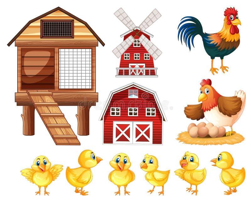 Pollos y gallineros de pollo ilustración del vector