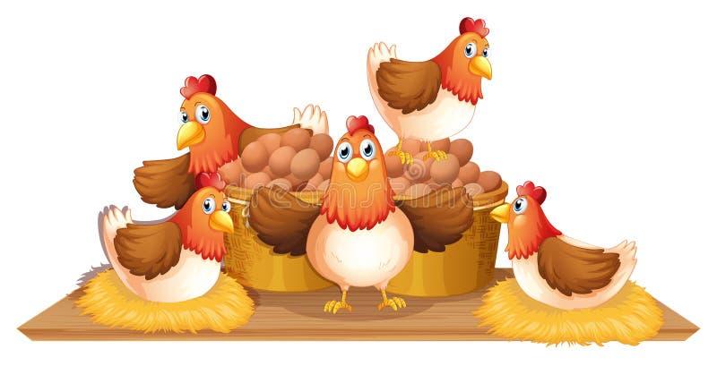 Pollos y huevos en cesta ilustración del vector