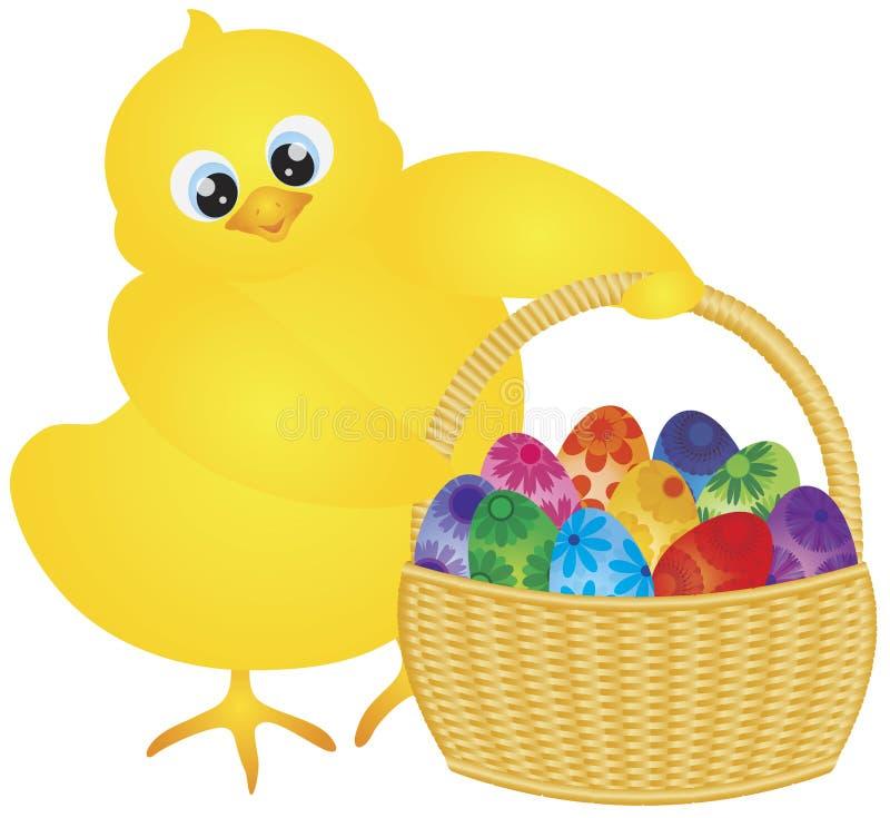Polluelo de Pascua con la cesta de huevos florales stock de ilustración