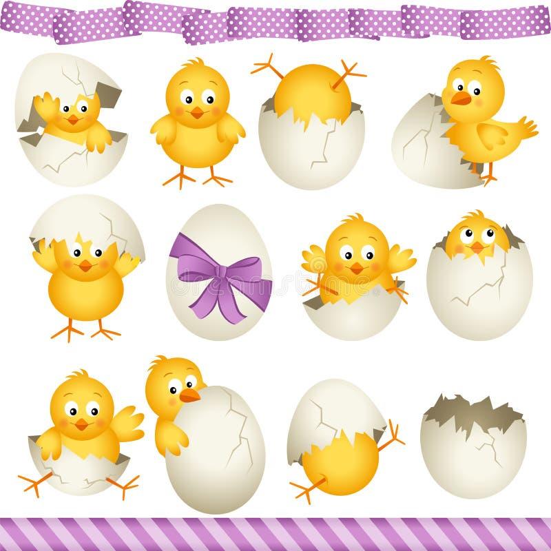Polluelos de los huevos de Pascua ilustración del vector