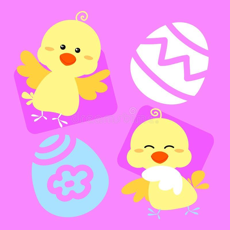 Polluelos de Pascua en color de rosa ilustración del vector