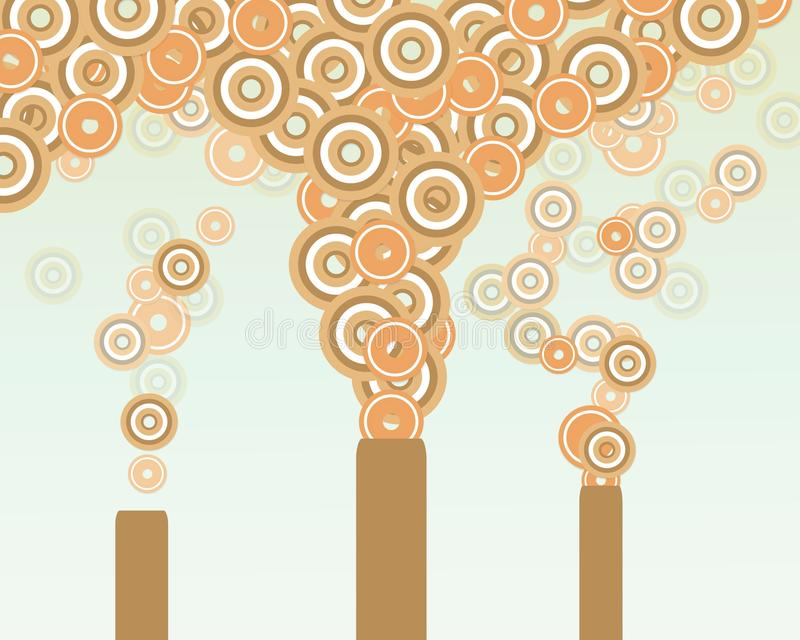 Pollute. Retro Illustration of towers pumping pollution into the atmosphere royalty free illustration