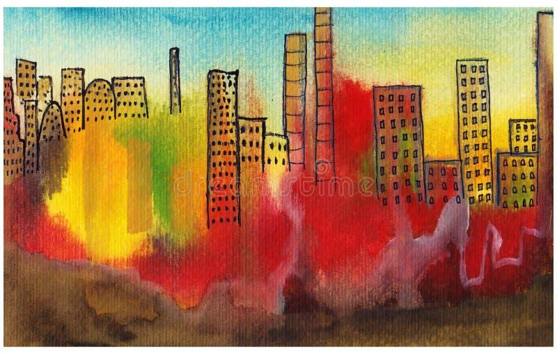 polluted город иллюстрация штока