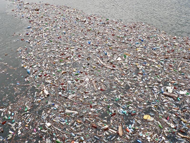 Polluted озеро Загрязнение в воде Пластичные бутылки Заболевания и болезни стоковые изображения