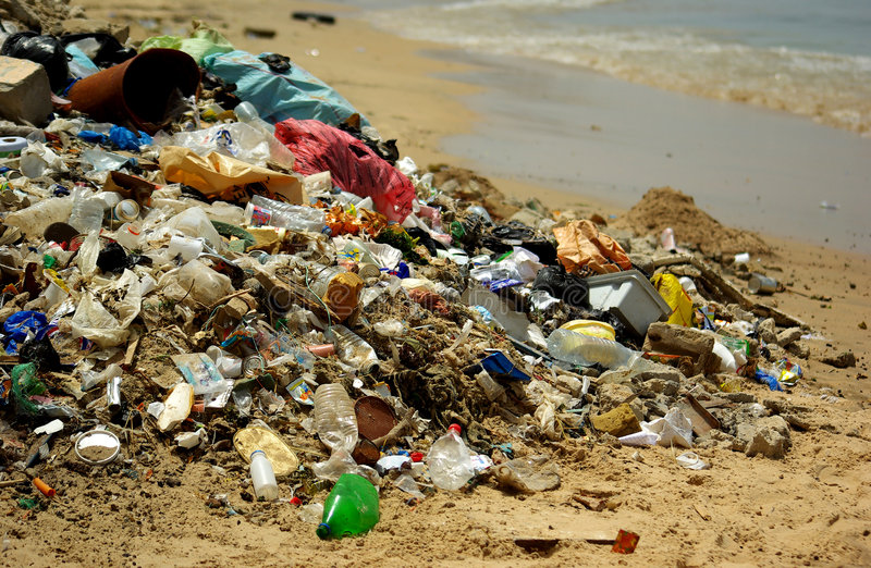 Polluted beach stock photography