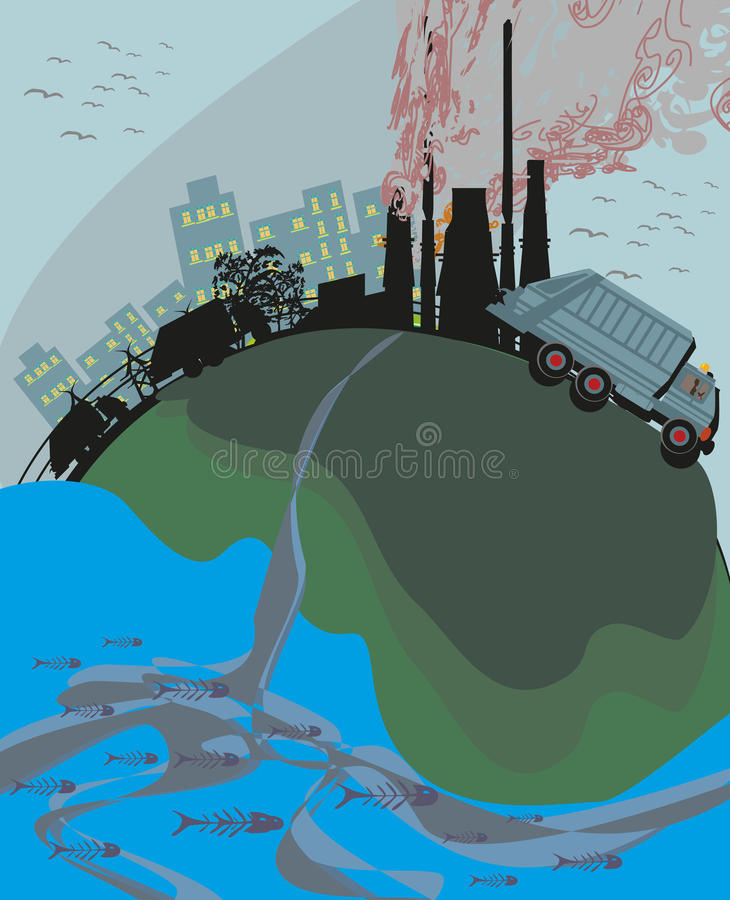 Polluted cities. Design - Vector Illustration royalty free illustration
