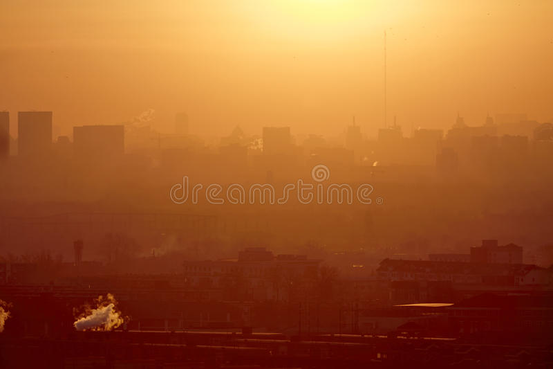 Polluted city, Beijing, China. Beijing city in air pollution, foggy winter morning stock photos