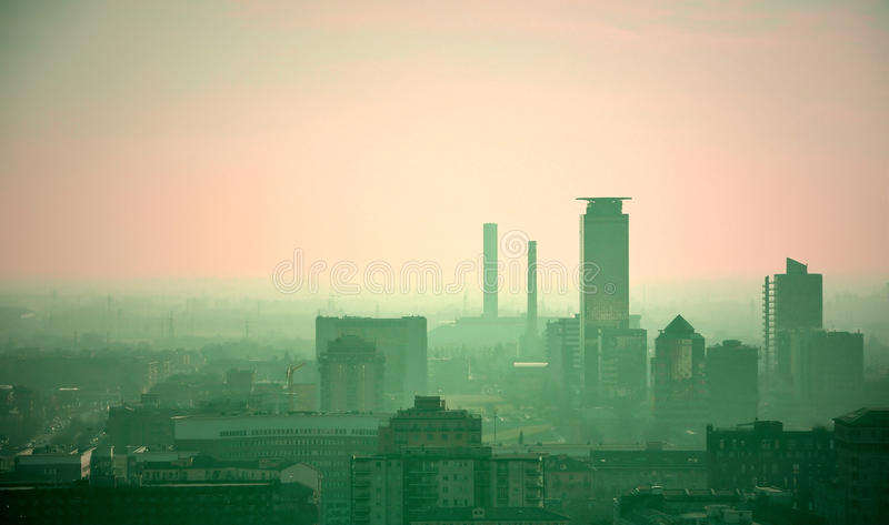 Polluted city skyline. Brescia, Italy stock photography