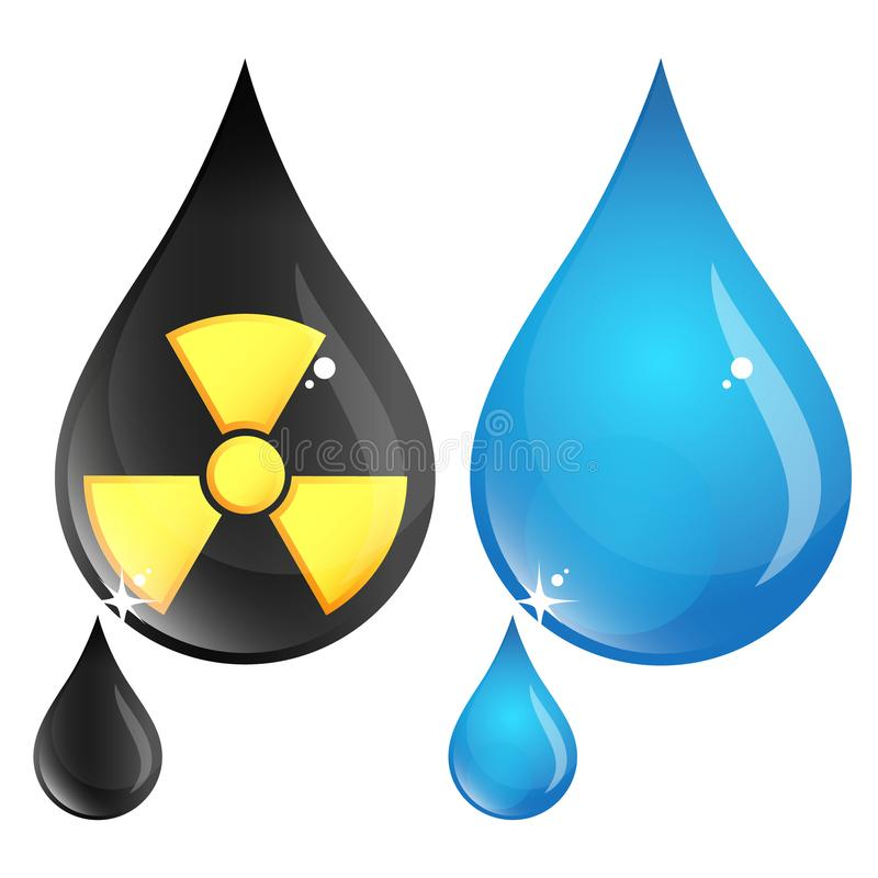 Polluted and clean drop of water stock illustration