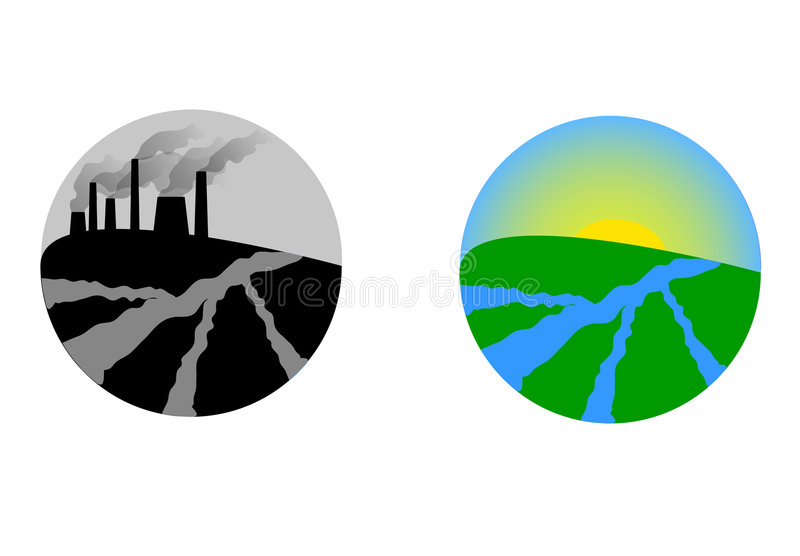 Polluted and clean Earth royalty free illustration