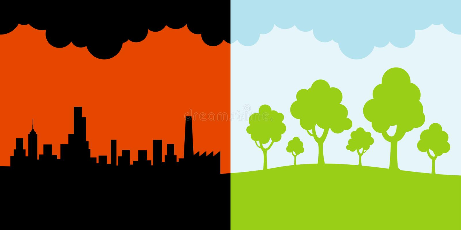 Polluted and clean environment stock illustration