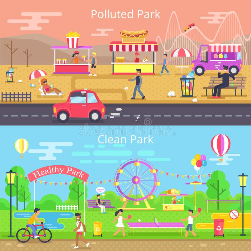 Polluted and Clean Park Set Vector Illustration royalty free illustration
