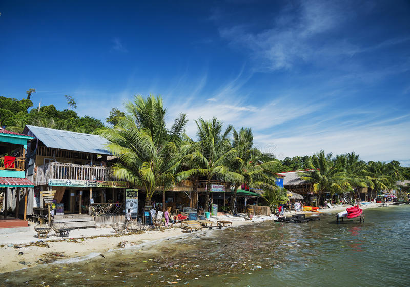 Polluted dirty beach with garbage rubbish in koh rong island cam royalty free stock images