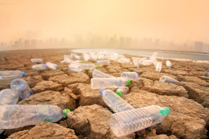 Polluted environment of toxic waste from urban. stock photos
