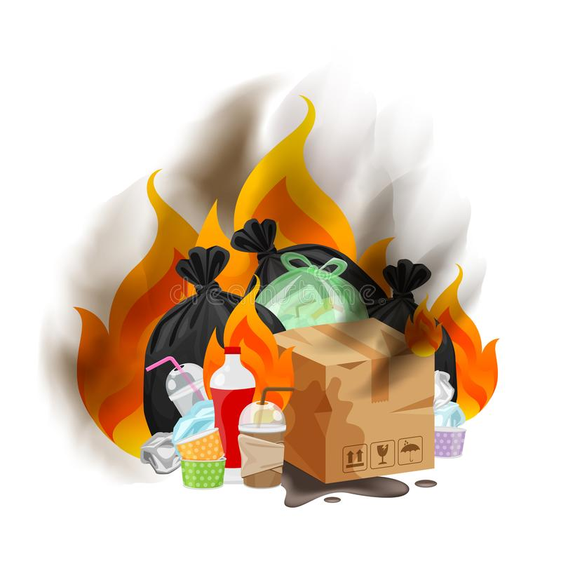 Polluted of waste plastic incineration isolated on white, garbage waste disposal with burnt incinerate, fire flame garbage burning vector illustration