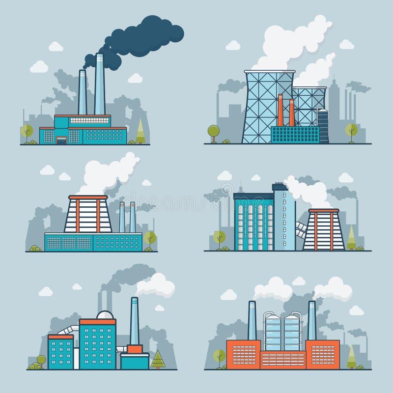 Pollutio plano linear de la naturaleza de la industria pesada de la ecología libre illustration