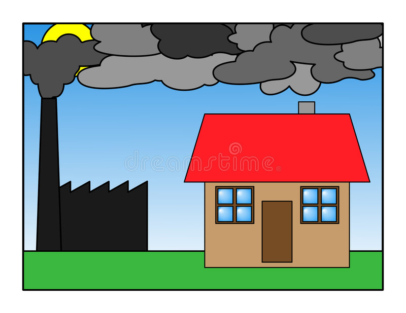 Pollution. Damaged town house in a shadow of a factory vector illustration