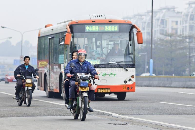 Pollution atmosphérique dans Guangzhou, Chine images libres de droits