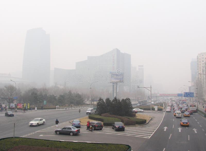 Pollution atmosphérique dans Pékin photographie stock