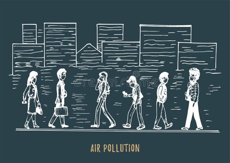 Pollution atmosph?rique, illustration tir?e par la main Croquis de ville smoggy, th?me d'environnement de contamination dans le v illustration stock