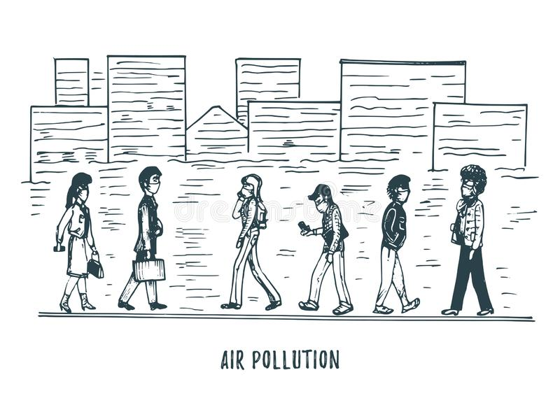Pollution atmosph?rique, illustration tir?e par la main Croquis de ville smoggy, th?me d'environnement de contamination dans le v illustration de vecteur