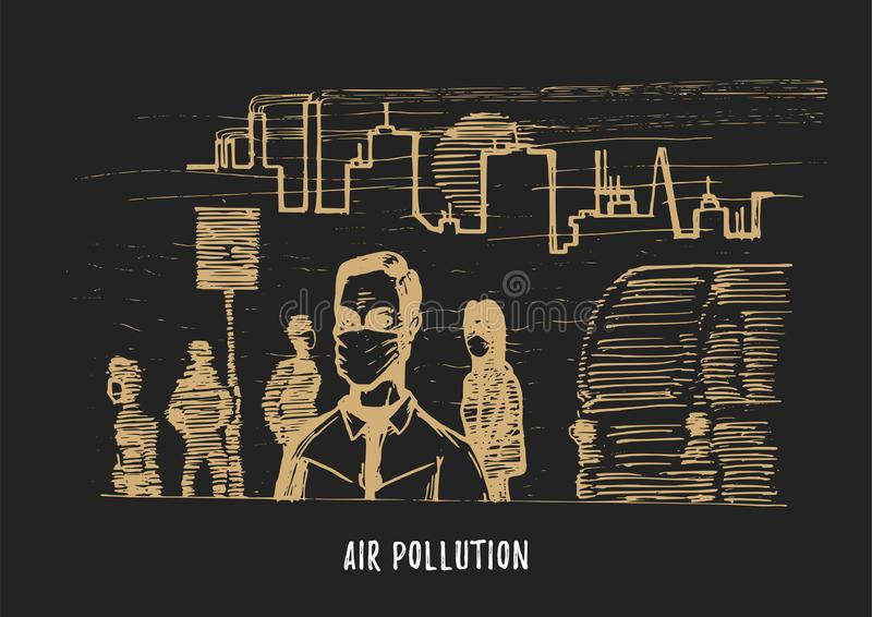 Pollution atmosph?rique, illustration tir?e par la main Croquis de ville smoggy, th?me d'environnement de contamination dans le v illustration libre de droits