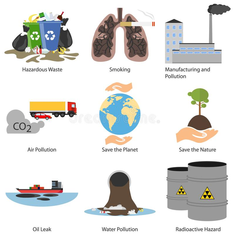 Pollution awareness ecological environmental concept. Environmental pollution problems set, pollution of air and water, deforestat royalty free illustration