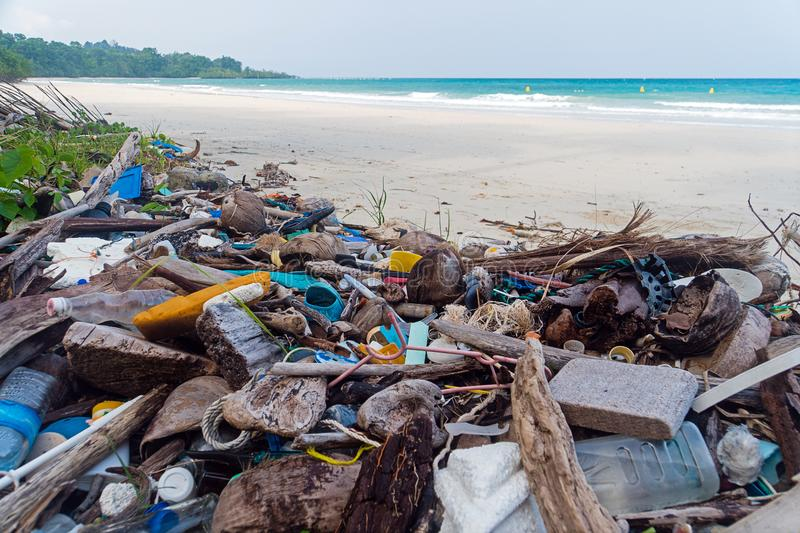 Pollution on the beach of tropical sea. stock photography