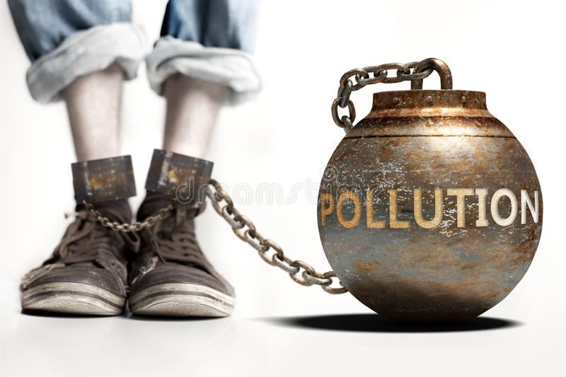 Pollution can be a big weight and a burden with negative influence - Pollution role and impact symbolized by a heavy prisoner`s. Weight attached to a person, 3d royalty free stock images