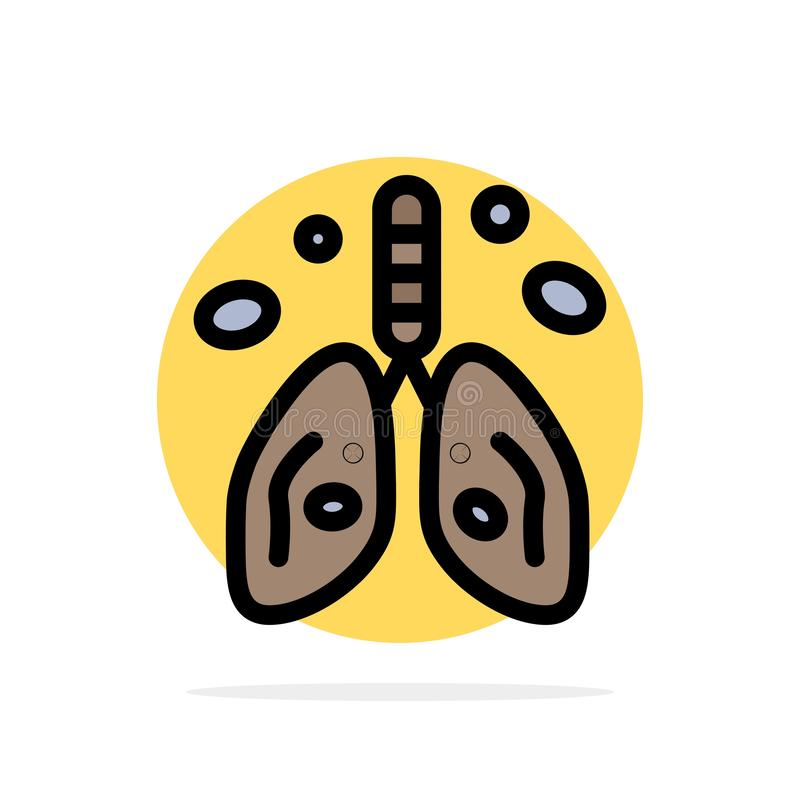 Pollution, Cancer, coeur, poumon, icône plate de couleur de fond de cercle d'abrégé sur organe illustration libre de droits