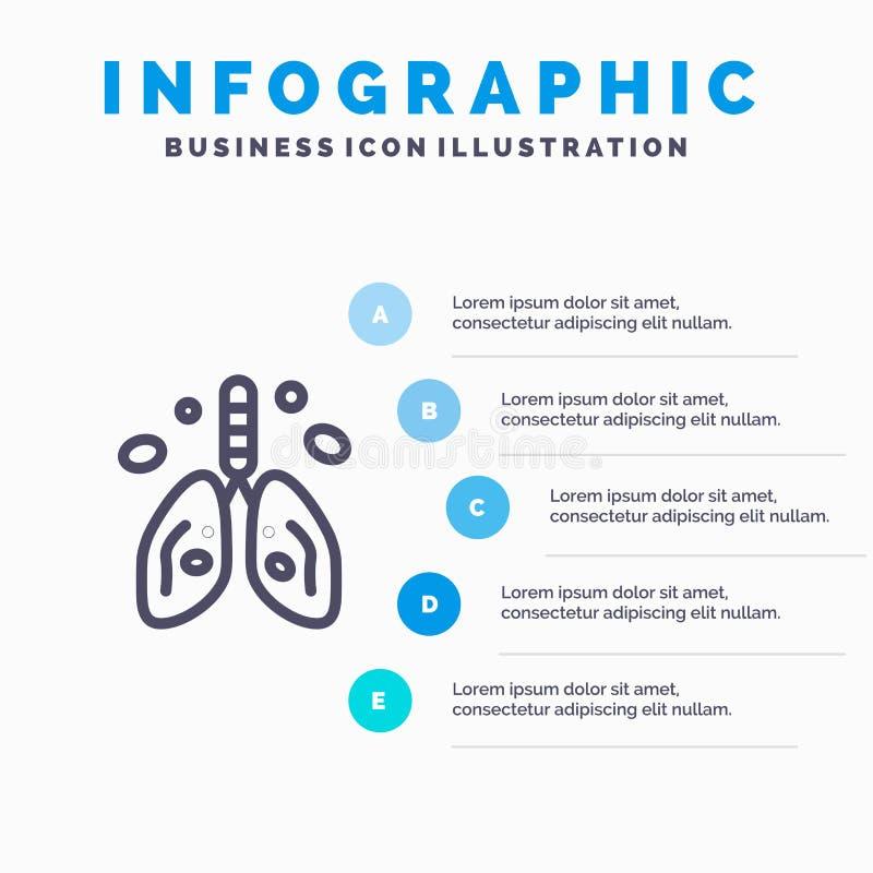 Pollution, Cancer, coeur, poumon, ligne icône d'organe avec le fond d'infographics de présentation de 5 étapes illustration de vecteur