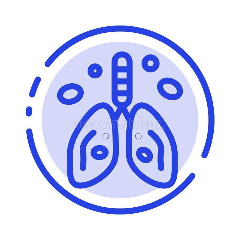 Pollution, Cancer, coeur, poumon, ligne pointillée bleue ligne icône d'organe illustration de vecteur