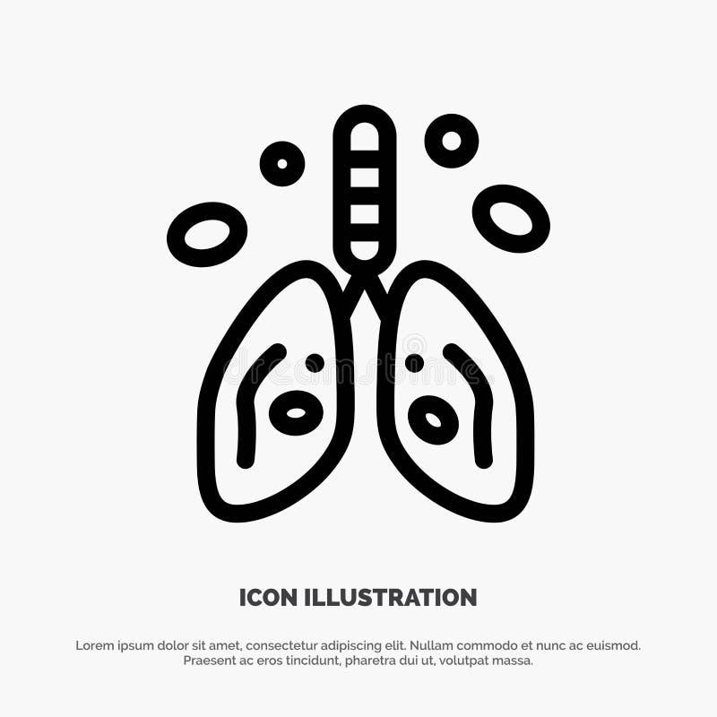 Pollution, Cancer, coeur, poumon, ligne vecteur d'organe d'icône illustration stock