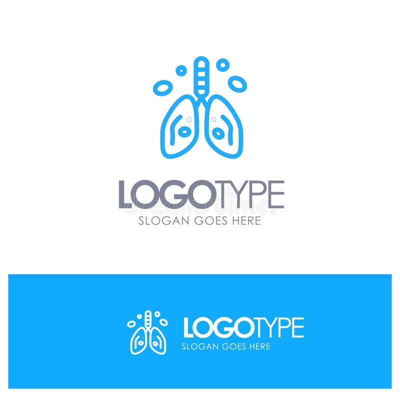 Pollution, Cancer, coeur, poumon, logo bleu d'ensemble d'organe avec l'endroit pour le tagline illustration stock