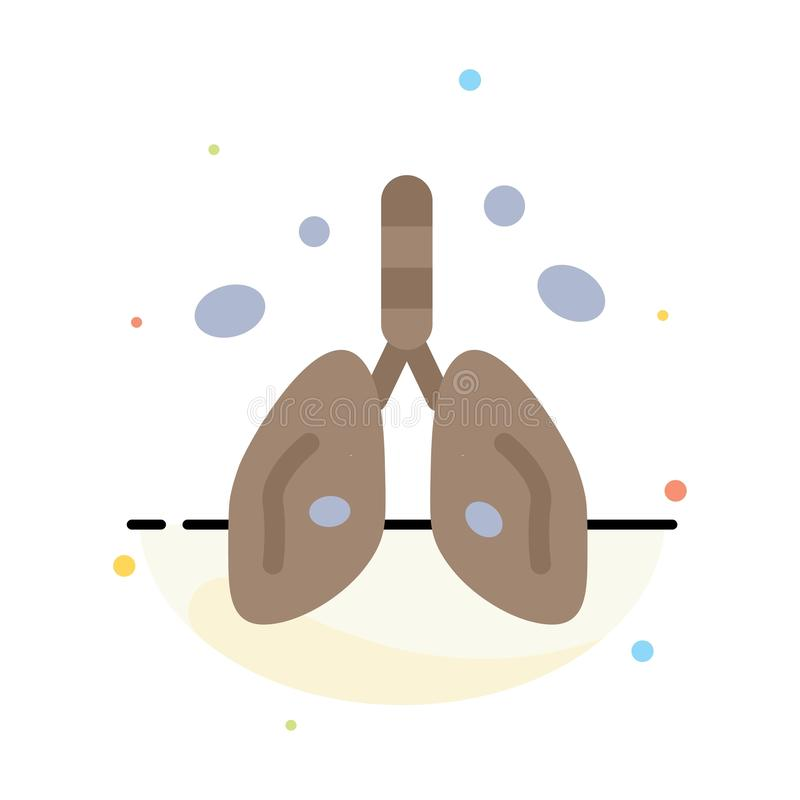 Pollution, Cancer, Heart, Lung, Organ Abstract Flat Color Icon Template royalty free illustration
