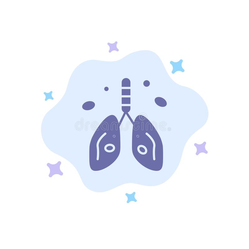 Pollution, Cancer, Heart, Lung, Organ Blue Icon on Abstract Cloud Background stock illustration