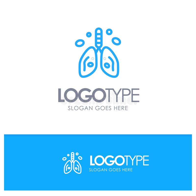 Pollution, Cancer, Heart, Lung, Organ Blue outLine Logo with place for tagline stock illustration