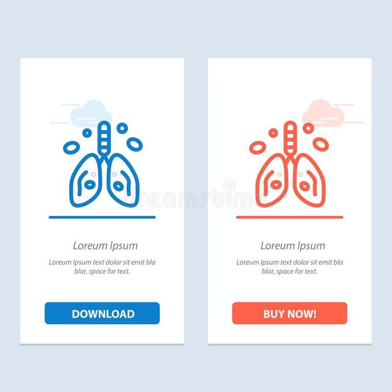 Pollution, Cancer, Heart, Lung, Organ  Blue and Red Download and Buy Now web Widget Card Template vector illustration