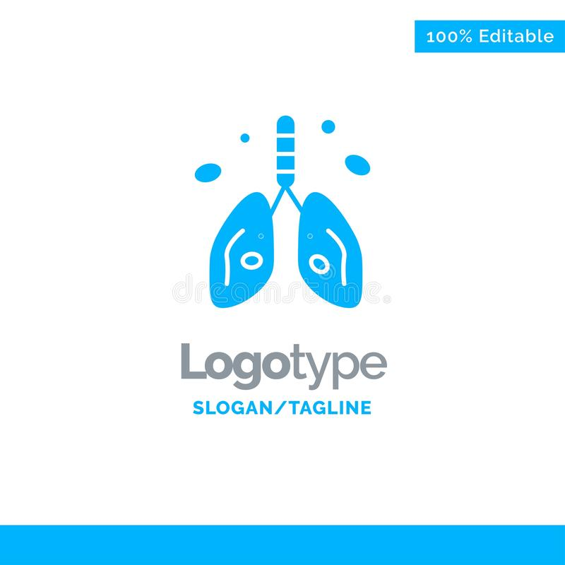 Pollution, Cancer, Heart, Lung, Organ Blue Solid Logo Template. Place for Tagline royalty free illustration