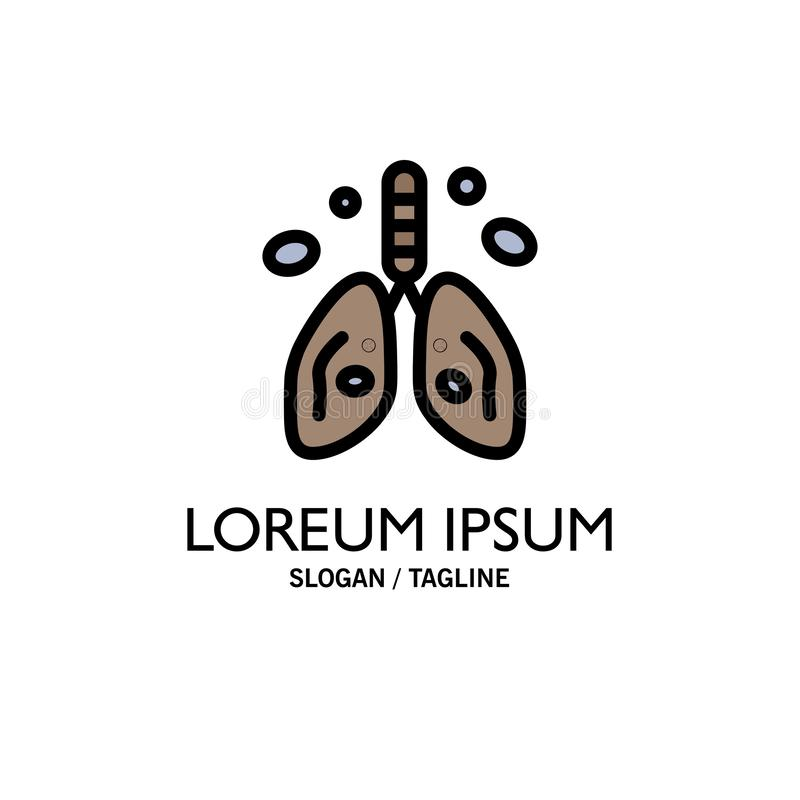 Pollution, Cancer, Heart, Lung, Organ Business Logo Template. Flat Color royalty free illustration